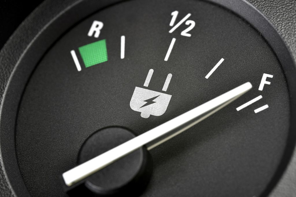 Electric Car Battery Charge Gauge Close-up